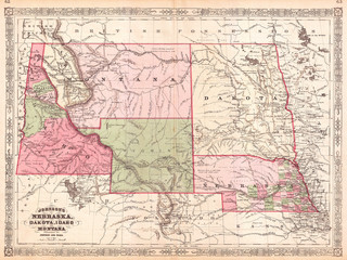 Fototapete - 1866, Johnson Map of Montana, Wyoming, Idaho, Nebraska and Dakota