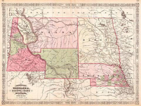 1866, Johnson Map of Montana, Wyoming, Idaho, Nebraska and Dakota