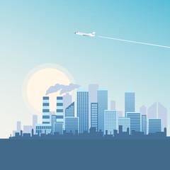 Illustration Flying Plane over Metropolis Building