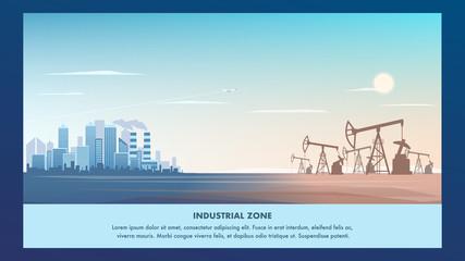 Banner Illustration Industrial Zone Metropolis