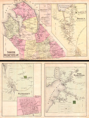 1873, Beers Map of North Hempstead, Great Neck, and Roslyn, Long Island, New York