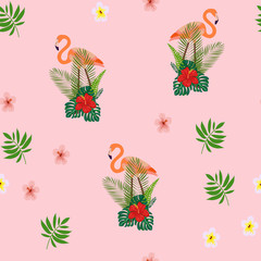 Pattern with pink flamingo. Floral seamless pattern with flamingo and tropical leaves.