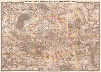 1880, Clerot Pocket Map of Paris and Environs, France