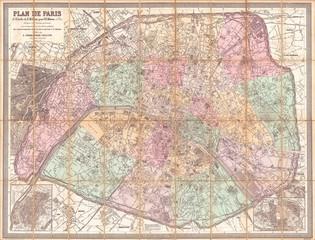 1882, Andriveau-Goujon Pocket Map of Paris, France