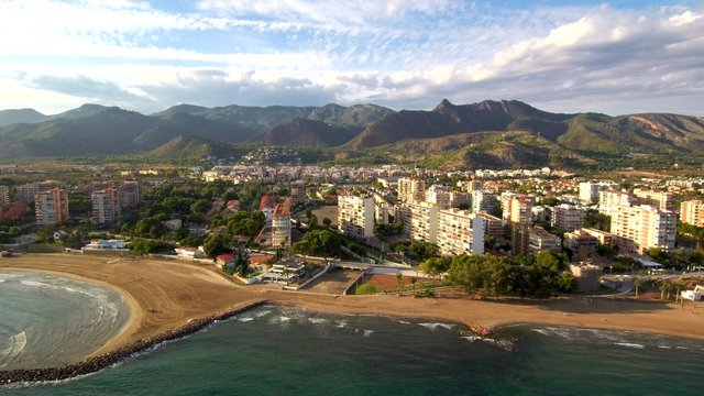 Benicassim, village of Castellon.Spain. Aerial photo by Drone