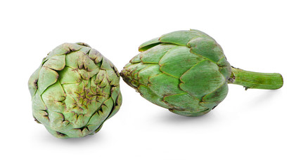 Green artichoke isolated on white background