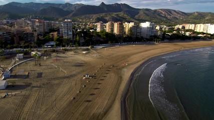 Beach of Benicassim. Castellon. Spain. Drone Photo