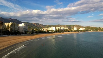 Beach of Benicassim. Castellon. Spain. Drone Photo