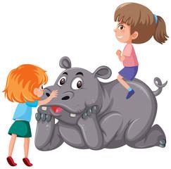 Two children riding rhinoceros