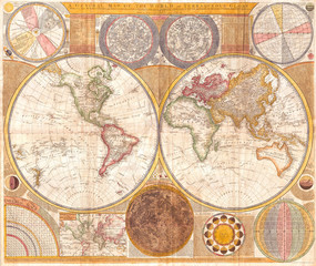 Samuel Dunn, Wall Map of the World in Hemispheres