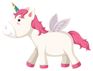 Isolated unicorn character on white background