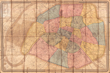 Andriveau Goujon, Folding Wall Map of Paris, France