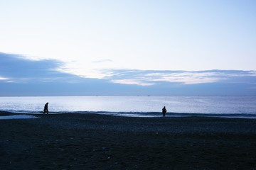 Sight of the winter beach at sunrise