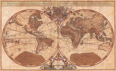 1691, Sanson Map of the World on Hemisphere Projection