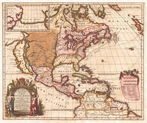 1698, Louis Hennepin Map of North America