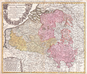 1730, Homann Heirs Map of Belgium and Luxembourg