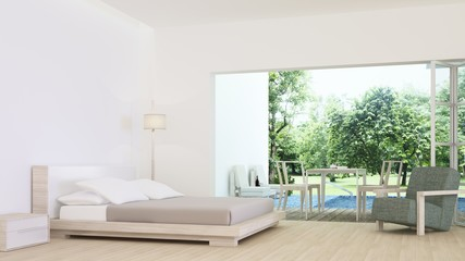 The interior minimal hotel bedroom space 3d rendering and nature view background