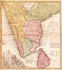 1733, Homann Heirs Map of India
