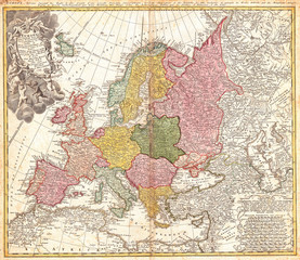 1743, Homann Heirs, Haas Map of Europe