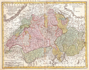 1752, Homann Heirs Map of Switzerland