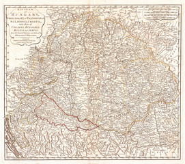 Fototapete - 1794, Laurie and Whittle Map of Hungary and Transylvania, 1794 - 1812