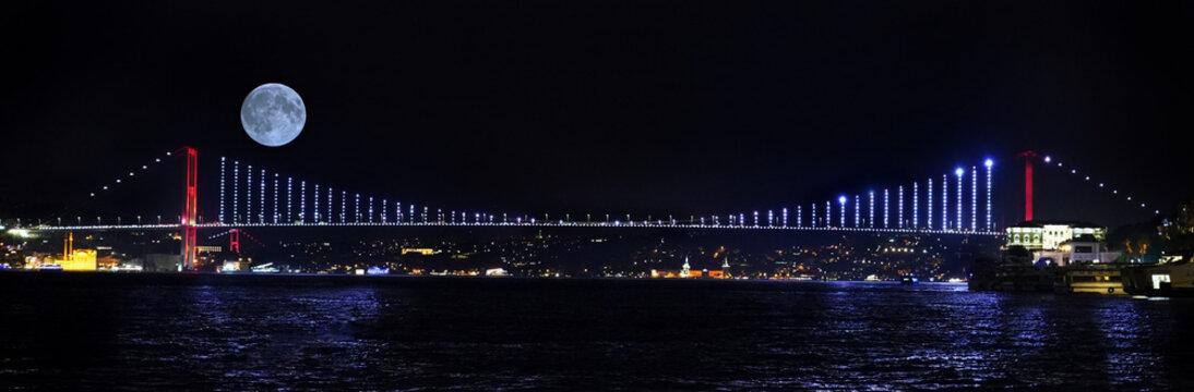 İstanbul bosphorus bridge , fullmoon and city night
