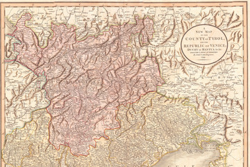 1799, Cary Map of Tyrol, John Cary, 1754 – 1835, was an English cartographer, John Cary, 1754 – 1835, English cartographer