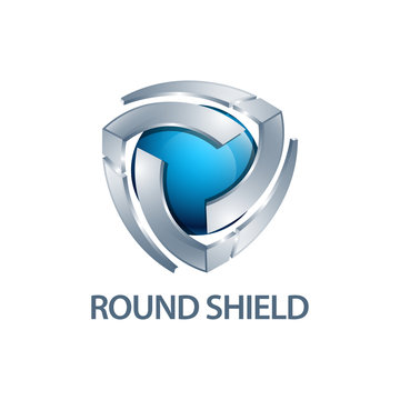 Round shield logo concept design. three dimensional style. 3D Symbol graphic template element
