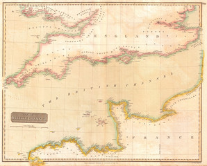 1814, Thomson Map of the English Channel, John Thomson, 1777 - 1840, was a Scottish cartographer from Edinburgh, UK
