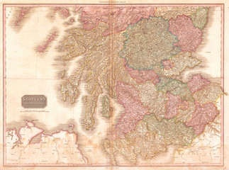 1818, Pinkerton Map of Southern Scotland, John Pinkerton, 1758 – 1826, Scottish antiquarian, cartographer, UK