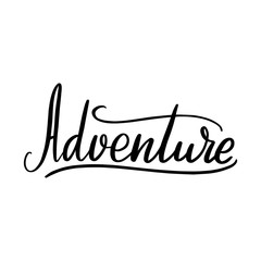 Adventure lettering greeting card. Typographic