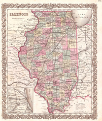 Fototapete - 1855, Colton Map of Illinois