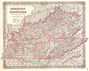 1855, Colton Map of Kentucky and Tennessee
