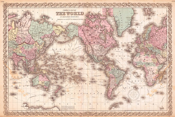 1855, Colton Map of the World on Mercator Projection Wall mural