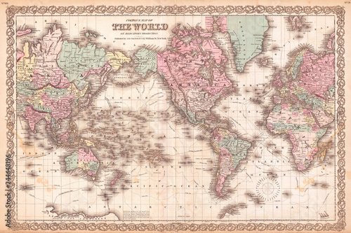 Fototapete 1855, Colton Map of the World on Mercator Projection