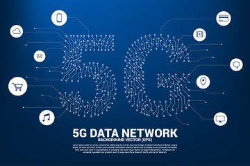 5G mobile networking from dot and line circuit board graphic style. Concept for mobile sim card technology and network.