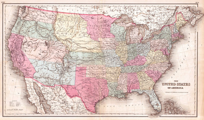 Wall Mural - 1857, Colton Map of the United States