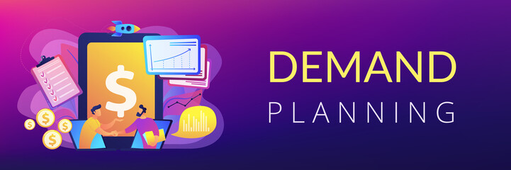 Demand analysts shaking hands from laptops screens and planning future demand. Demand planning, demand analytics, digital sales forecast concept. Header or footer banner template with copy space.