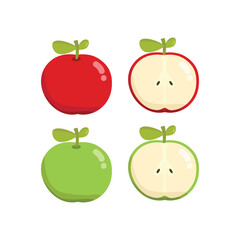 Set of cartoon red and green apple, whole and cut in half. Simple vector illustration.