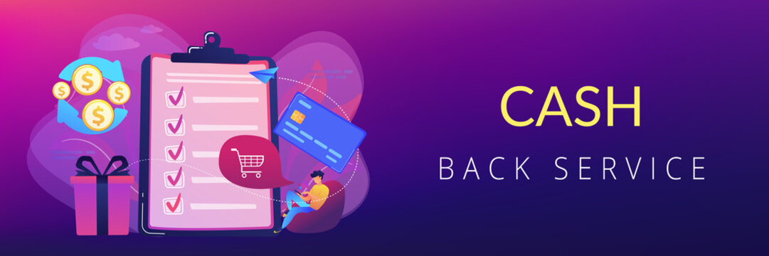 Cardholder with smartphone shopping online and getting cach rewards and checklist. Cash back service, cash back rewards, money back concept. Header or footer banner template with copy space.