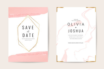 Luxury wedding invitation cards with gold marble texture and geometric pattern minimal style vector design template