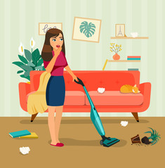 Young woman with wireless vacuum  cleaner in the messy living room. Vector flat style illustration