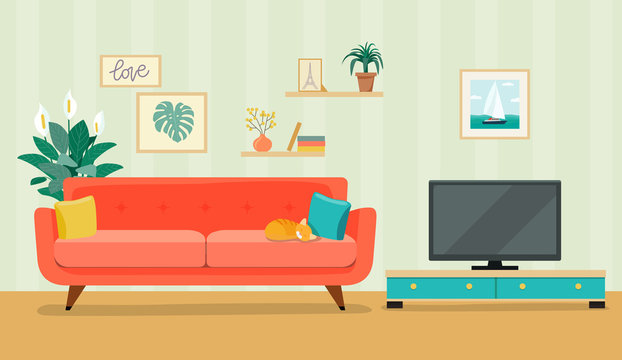 Furniture: sofa, bookcase, tv, picture. Living room interior.Flat style vector illustration