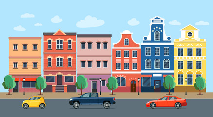 City street panoramic. City life set buildings and cars. Vector flat style illustration.