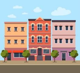City street panoramic.Set buildings. Vector flat style illustration.