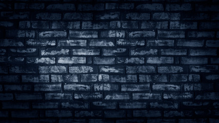 The texture of the brick is blue neon light. Background brick brick wall wall.