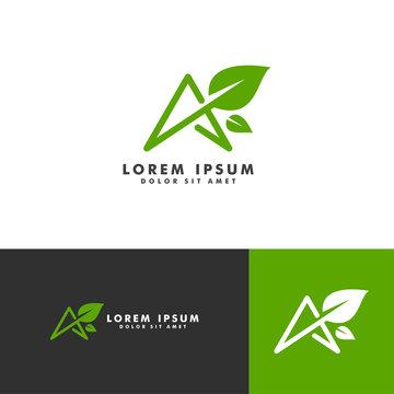 Organic leaf logo, letter A icon vector