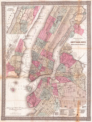 1867, Colton Pocket Map of New York City and Brooklyn