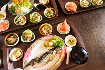 Japanese set meal, salt grilled saba fish
