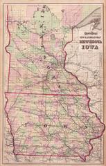 1873, Gray Railroad Map of Minnesota and Iowa